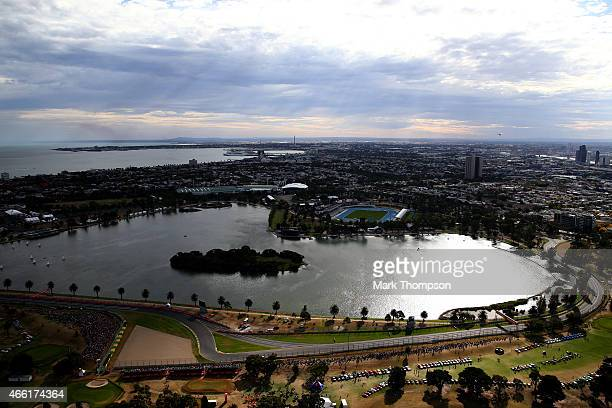 An aerial view of the track including Albert Park Lake during qualifying for the Australian Formula One Grand Prix at Albert Park on March 14 2015 in...