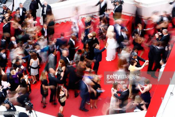 An aerial view of the 'Twin Peaks' red carpet during the 70th annual Cannes Film Festival at Palais des Festivals on May 25 2017 in Cannes France