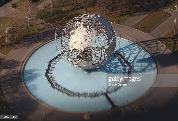 An aerial view of the unisphere at the New York World's Fair Grounds photographed on December 15, 2009 in Flushing Meadows, New York.