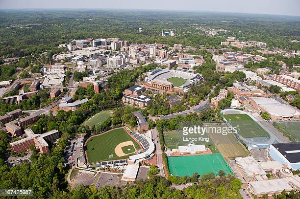An aerial view of the University of North Carolina campus including Kenan Stadium Bryson Field and Fetzer Field on April 21 2013 in Chapel Hill North...