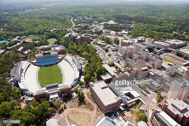 An aerial view of the University of North Carolina campus including Kenan Stadium and University of North Carolina Hospitals on April 21 2013 in...