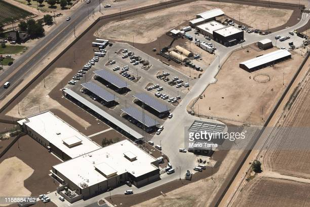 An aerial view of the US Border Patrol facility where attorneys reported that detained migrant children had been held in disturbing conditions on...