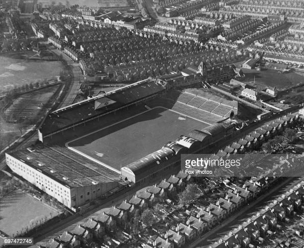 An aerial view of the Villa Park football ground home to the Aston Villa football team and the streets and houses surrounding it on 1 May 1951 at the...