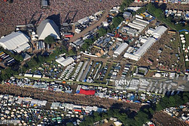 An aerial view of the VIP 'winnebago' area backstage at the Glastonbury Festival site where a man's body was reported to have been found at Worthy...