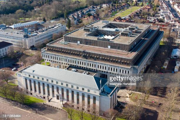 An aerial view of the Welsh Government Building at Cathays Park on March 16, 2021 in Cardiff, Wales. The 2021 Senedd election will be the sixth held...