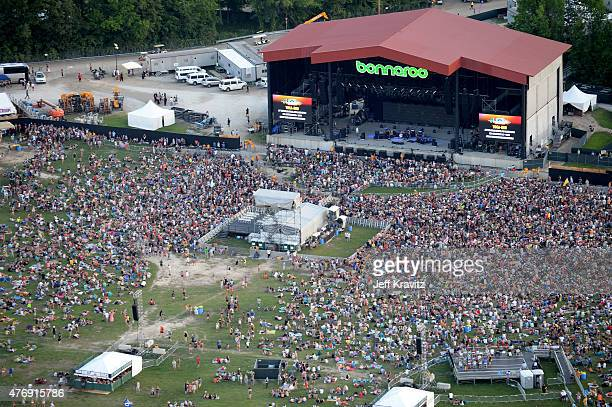 An aerial view of the What Stage during Day 2 of the 2015 Bonnaroo Music And Arts Festival on June 12 2015 in Manchester Tennessee