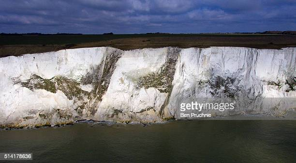 An aerial view of the white cliffs of Dover on March 7 2016 in Dover EnglandThe United Kingdom a member of the European Union an economic and...