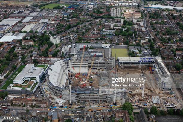 An aerial view of the White Hart Lane redevelopment as demolition continues at White Hart Lane on June 7 2017 in London England