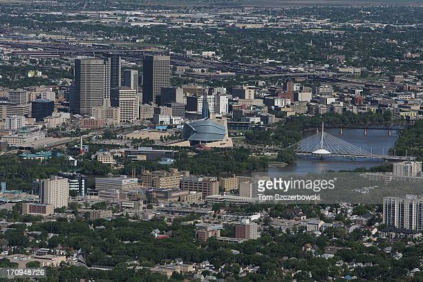 An aerial view of the Winnipeg skyline by the Red River on June 15 2013 in Winnipeg Manitoba