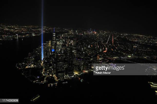 An aerial view of the World Trade Center site is shown on the 18th anniversary of the September 11 terrorist attacks in Lower Manhattan September 11...