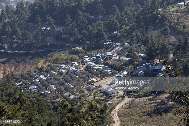An aerial view of the Yamadi camp as Assad regime forces continue its air attacks on Turkmen town of Bayirbucak in Lattakia Syria on November 25 2015