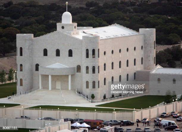 An aerial view of the Yearning for Zion compound owned by the Fundamentalist Church of Jesus Christ of Latter Day Saints April 8 2008 in Eldorado...