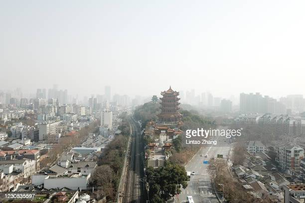 An aerial view of the Yellow Crane Tower on January 28, 2021 in Wuhan, China. In order to curb the spread of the new crown pneumonia COVID-19...