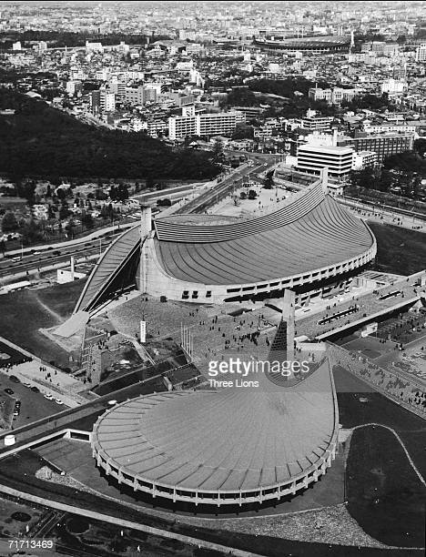 An aerial view of the Yoyogi National Gymnasium, circa 1965. Designed by Kenzo Tange to house the swimming and diving events in the 1964 Tokyo...