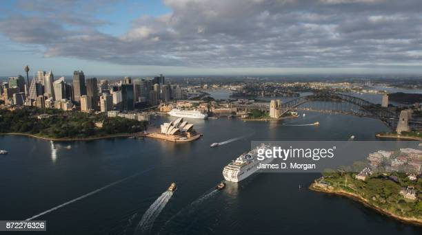 An aerial view of three PO cruise ships the Pacific Explorer Pacific Eden and Pacific Jewel arriving into Sydney Harbour on November 10 2017 in...