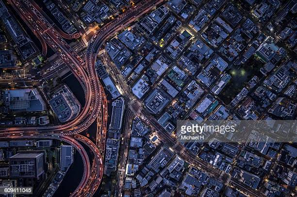 an aerial view of tokyo - overhead view of traffic on city street tokyo japan stock photos and pictures