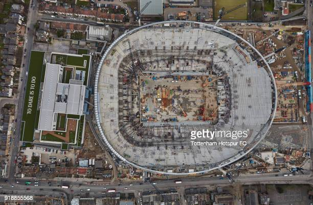 An aerial view of Tottenham Hotspur's New Stadium as work continues at White Hart Lane on February 8 2018 in London England