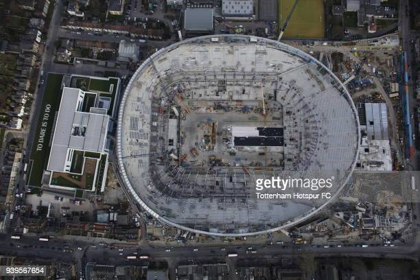 An aerial view of Tottenham Hotspur's New Stadium as work continues at White Hart Lane on March 25 2018 in London England
