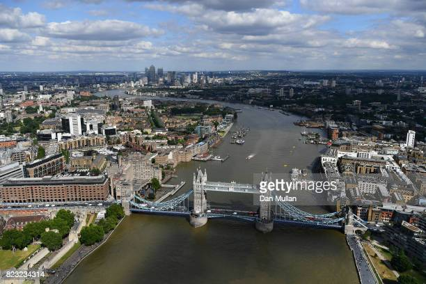 An aerial view of Tower Bridge on July 12 2017 in London England
