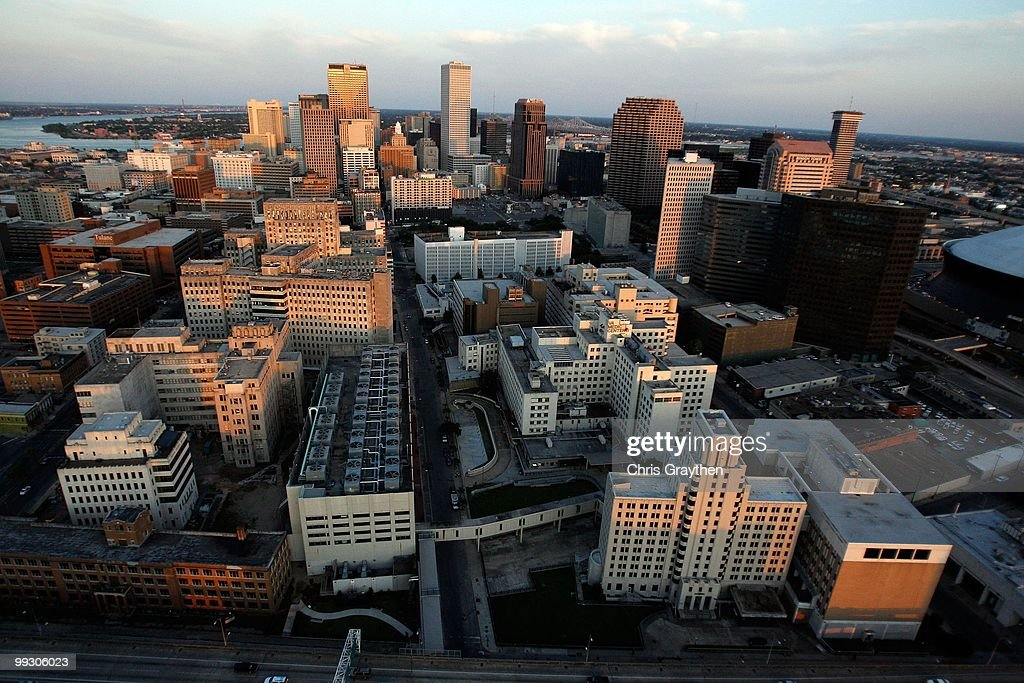 An aerial view of Tulane Avenue, Charity Hospital and the VA Medical Center of New Orleans in downtown New Orleans, Louisiana on April 10, 2010.