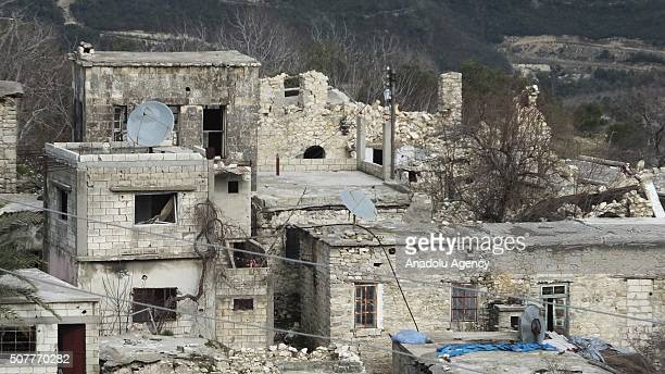 An aerial view of Turkmen town of Bayirbucak after Russian and Assad Regime forces carried out an air attack in Lattakia, Syria on January 29, 2016.