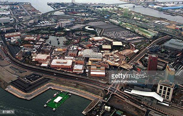 An aerial view of Universal Studios which officially opened to the public that morning March 31 2001 in Osaka Japan Although the park is designed to...