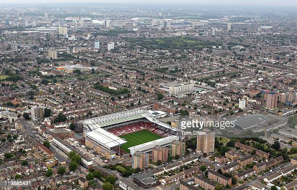 An aerial view of Upton Park home of West Ham United Football Club on July 26 2011 in London England