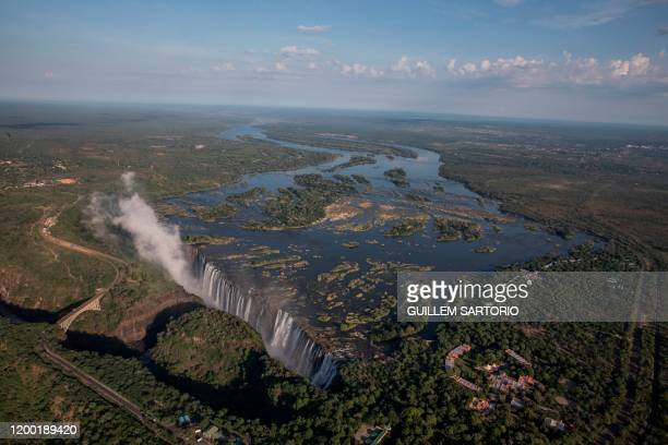 An aerial view of Victoria Falls in Livingstone on January 23 2020 The Victoria Falls a UNESCO world heritage site measuring 108 meters high and...