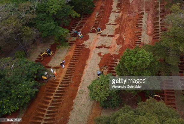An aerial view of Vila Formosa cemetery as excavators open extra graves amidst the coronavirus pandemic on April 18, 2020 in Sao Paulo, Brazil. Vila...