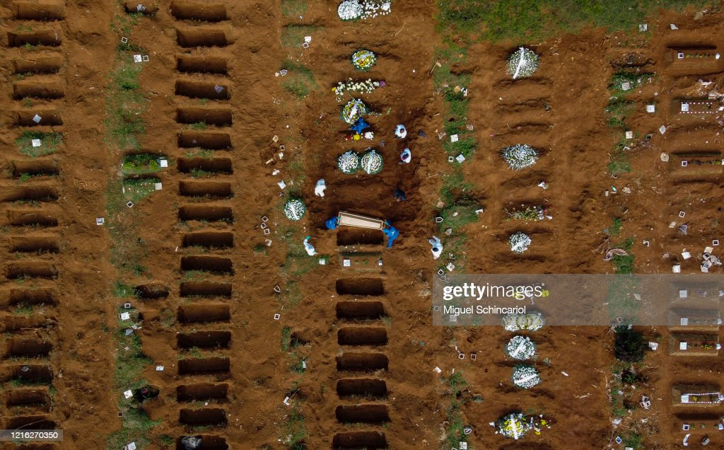 Aerial View of Vila Formosa Cemetery During a Burial of a Coronavirus (COVID -19) Pandemic Victim : News Photo