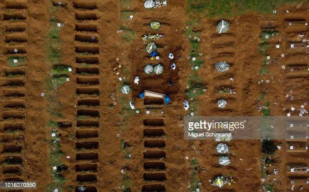 An aerial view of Vila Formosa cemetery during a burial amidst the coronavirus pandemic in Sao Paulo, Brazil on April 01, 2020. According to the...