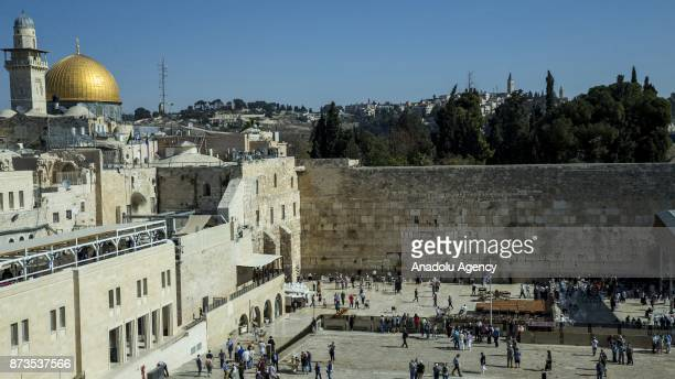 An aerial view of Wailing Wall in Jerusalem on November 13 2017 Jewish people pray to God at the wall Jerusalem has for decades been a flashpoint for...