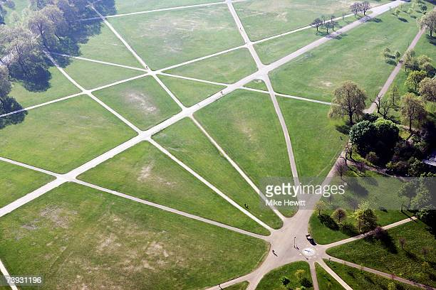 An aerial view of walkways as they criss cross Hyde Park on April 20, 2007 in London, England.