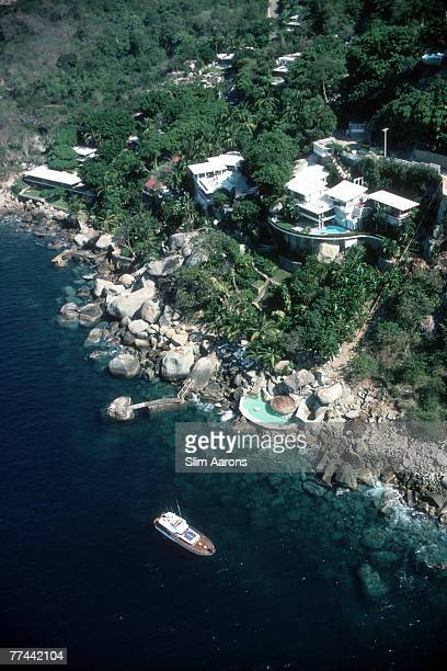 An aerial view of Warren Avis' villa 'La Barranca' Las Brisas Acapulco Mexico 1978