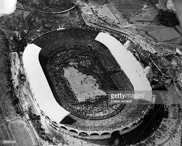 An aerial view of Wembley Stadium London during the 1923 FA Cup Final between Bolton Wanderers and West Ham United which Bolton won 20 It was the...