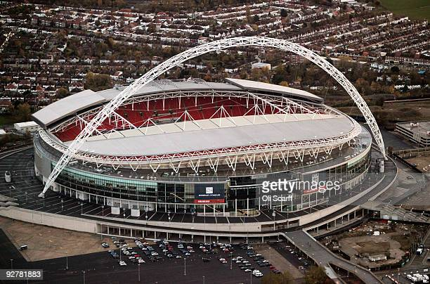 An aerial view of Wembley Stadium on November 4, 2009 in London, England. The UK's capital city is home to an population of over 7.5 million people,...
