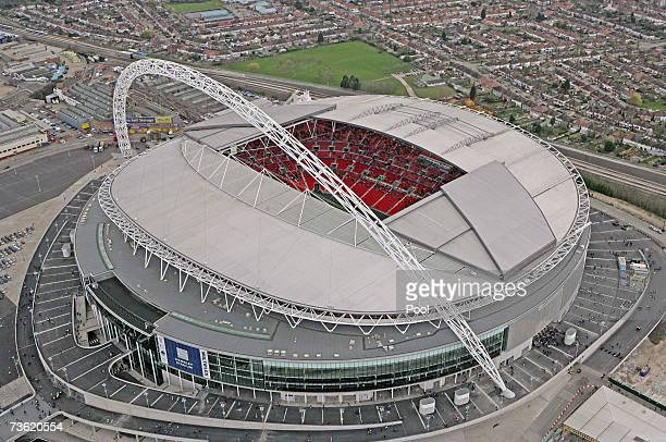 An aerial view of Wembley Stadium on the Wembley Stadium Community Day on March 17 2007 in London The Stadium expects around 60000 people to attend...