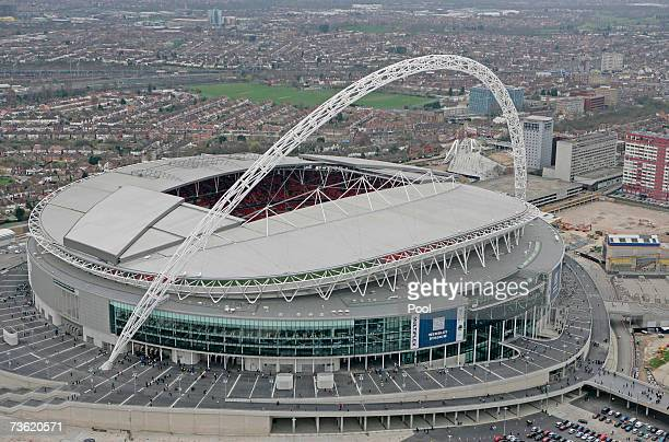 An aerial view of Wembley Stadium on the Wembley Stadium Community Day on March 17, 2007 in London. The Stadium expects around 60,000 people to...