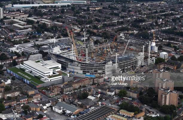 An aerial view of White Hart Lane Stadium as construction work continues on July 12 2017 in London England