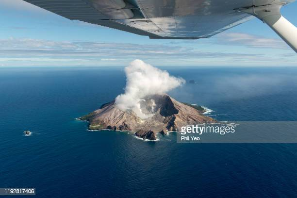 An Aerial view of White Island located in Bay of Plenty on March 26 2016 near Whakatane New Zealand