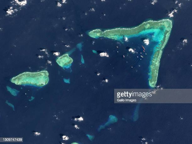 An aerial view of Whitsun Reef, Spratly Islands, South China Sea. Imaged 9 March 2021.