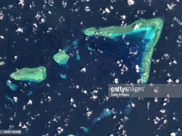 An aerial view of Whitsun Reef, Spratly Islands, South China Sea. Imaged 19 March 2021.