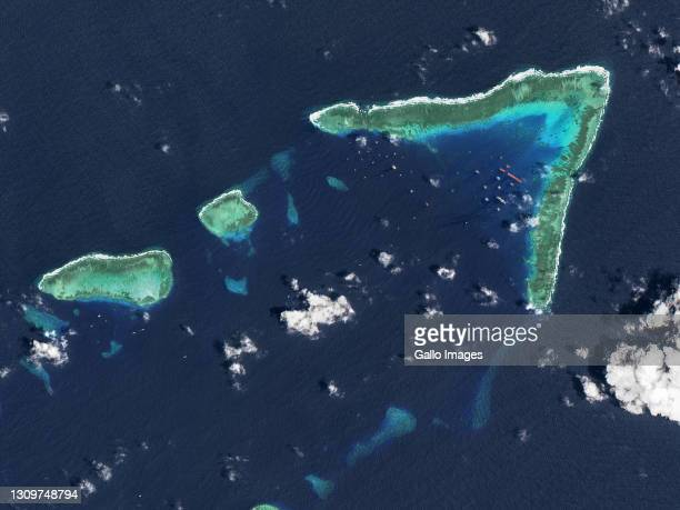 An aerial view of Whitsun Reef, Spratly Islands, South China Sea. Imaged 24 March 2021.