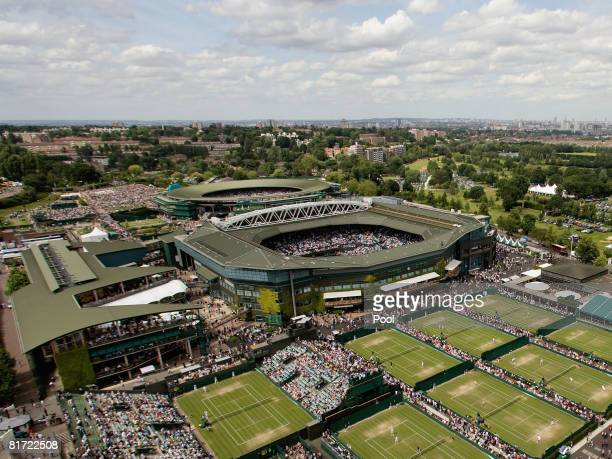 An aerial view of Wimbledon on day four of the Wimbledon Lawn Tennis Championships at the All England Lawn Tennis and Croquet Club on June 26 2008 in...