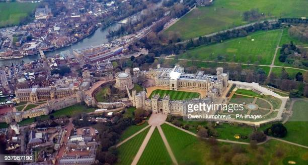 An aerial view of Windsor Castle in Berkshire which will host the wedding in May of Prince Harry and Meghan Markle