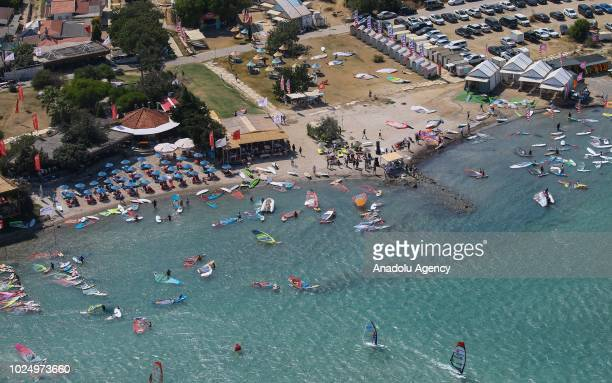 An aerial view of windsurfers at the Turkish wind tourism capital Alacati in Izmir, Turkey on August 18, 2018. Turkey has a coastline of 8,333...