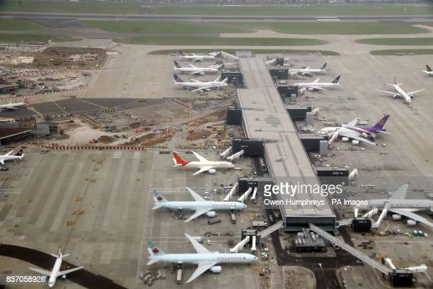 An aerial view of work taking place at Heathrow Airport