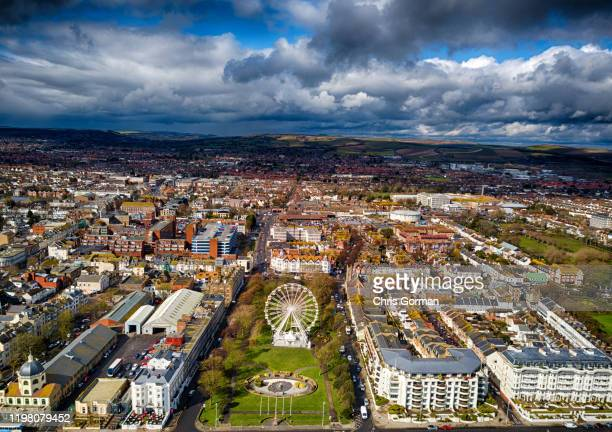 An aerial view of Worthing in East Sussex on March 28, 2018 in Worthing, United Kingdom.