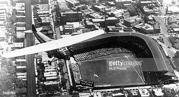 An aerial view of Wrigley Field in Chicago, Illinois. Wrigley Field opened April 23, 1914 as the home of the Chicago Cubs.