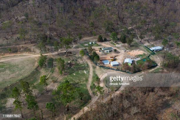 An aerial view of Wytaliba primary school on January 14 2020 in Wytaliba Australia The school is being rebuilt in the hope of taking students for the...